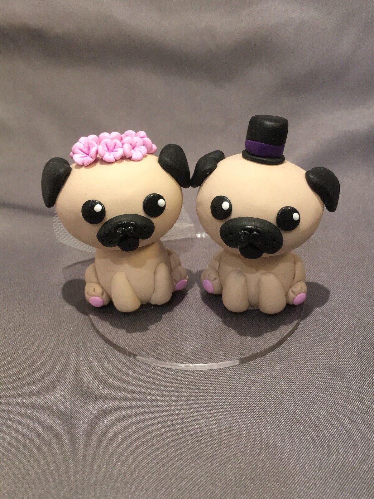 Fatto a mano Pugs WEDDING CAKE topper Sposa e Sposo Figurina per torta torta nuziale