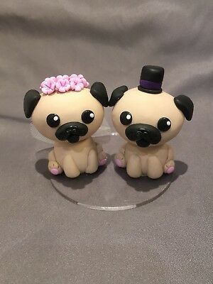 Handmade Pugs Wedding Cake Topper Bride And Groom Cake Figurine Wedding Cake Ebay