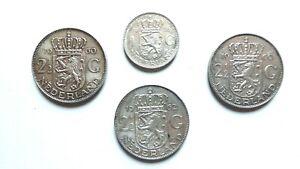 Pays-Bas-Nederland-Lot-de-3-X-2-1-2-Gulden-1960-1962-2-1-gulden-1958