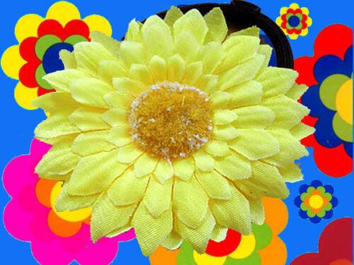A14 ✪ 70er anni Festival Hippie Flower-Power GERBERA Capelli Fermaglio Capelli in Gomma Giallo