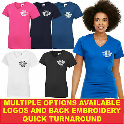 Personalised Embroidered Ladies Classic V Neck T Shirt UC319 Highest Quality