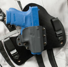 Glock 36 Black Leather Kydex Hybrid Gun Holster IWB Tuck Concealment