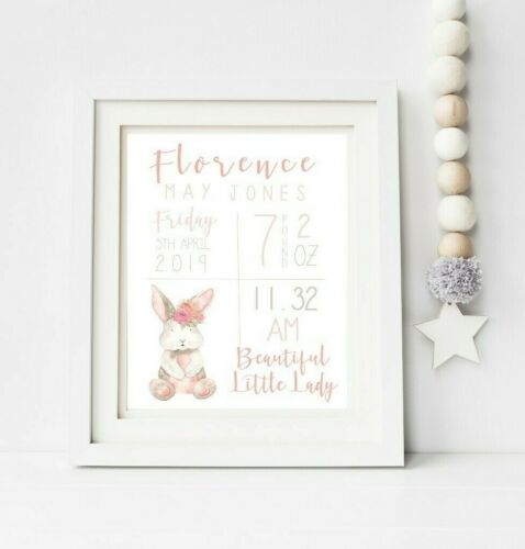 Baby Gift Personalised A4 Baby Print Nursery Bunny Birth Details Wall Art