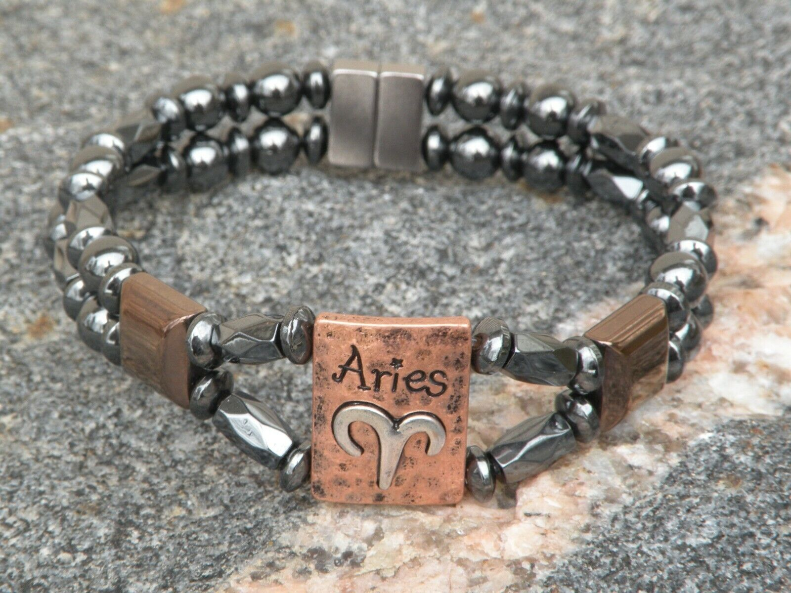 Mens Womens Aries Magnetic Hematite Bracelet Anklet 2 Row Zodiac Mar 21-April 19