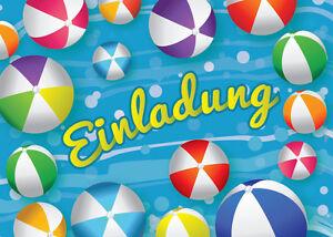 Einladungskarten Einladungen Kinder Geburtstag SCHWIMMBAD-PARTY ...