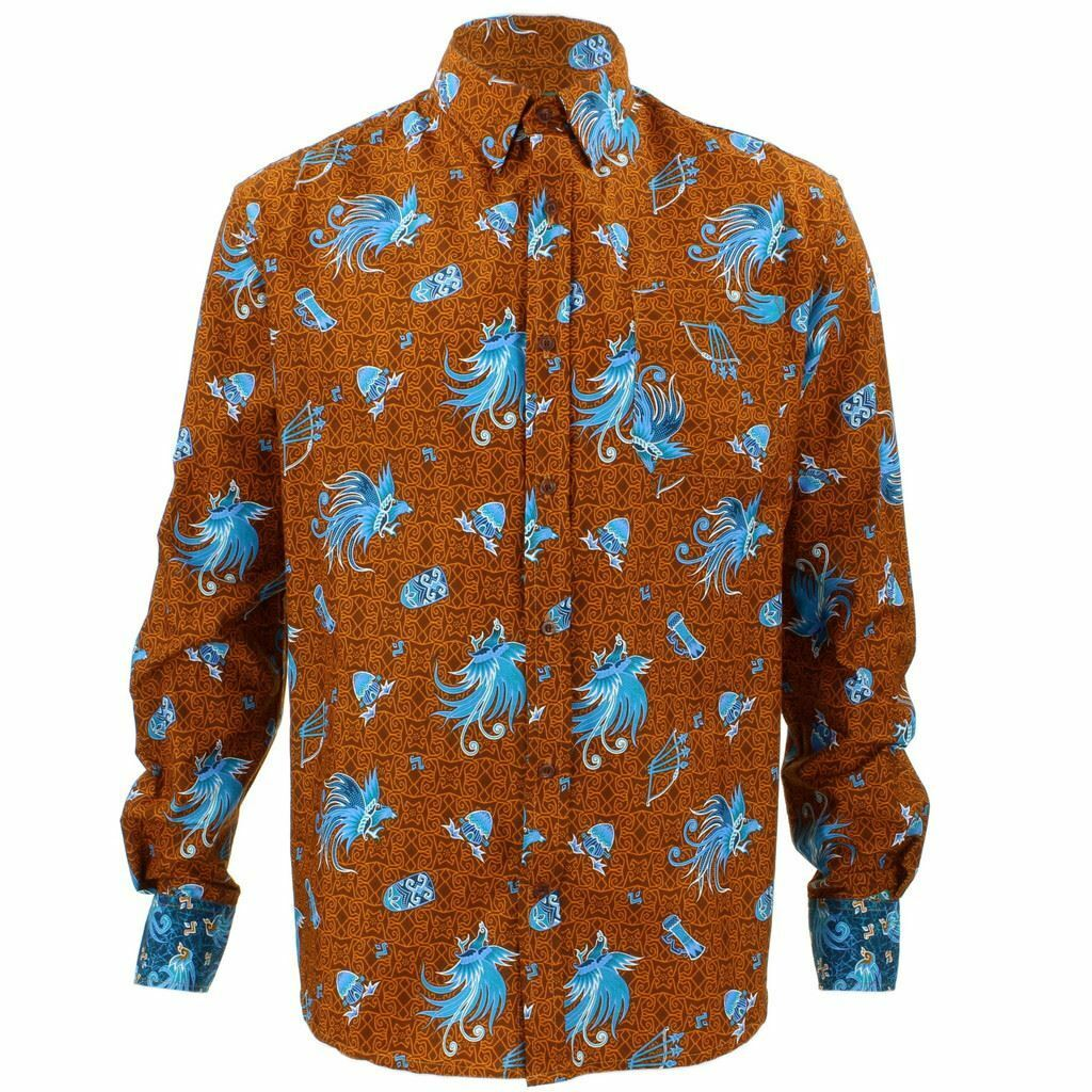 Mens Loud Shirt Retro Psychedelic Funky Party TAILORED FIT Abstract Phoenix