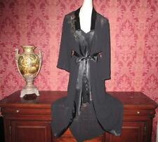 Satin Nightgown Gown Peignoir Robe Set Black Chiffon Negligee Lingerie Medium