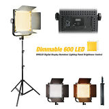 Dimmable 600 LED Video Light Panel w/ 86 Photo Studio High Output Light Stand