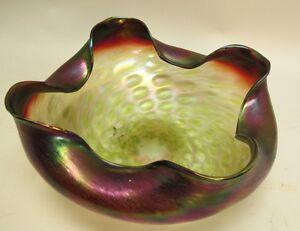 """1910 Bohemian Glass Friendly Large Antique Art Nouveau 11"""" Rindskopf Iridized Art Glass Bowl C"""