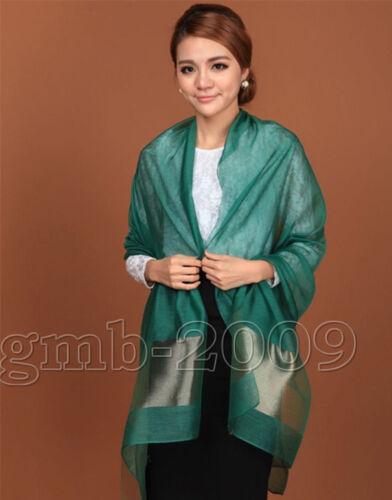 100/% pure soie écharpe Couleur Unie Plain Scarves Grand Hiver Doux Femmes Vert
