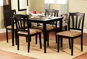 5 piece dining set wood breakfast furniture 4 chairs and table