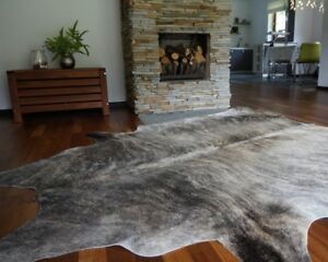 Details About Grey Cowhide Rug Cow Genuine Skin Leather Area Hair On Hide