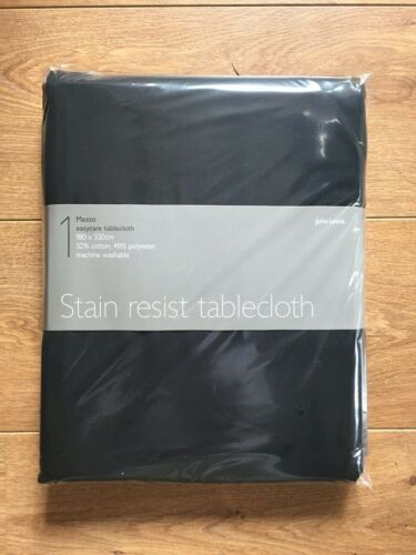 180 x 320 cm John Lewis Mezzo tache résister Easycare nappe en Noir RRP £ 45