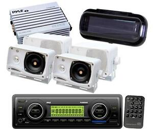 PLMR86B Pyle New Marine Boat USB AM FM Radio 4 Box Speakers + 400W Amp & Cover