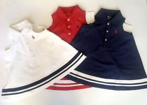 908ee17425 Details about Ralph Lauren baby girls striped polo dress set red ,white,  navy ,genuine BNWT