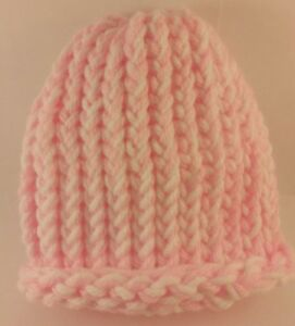 Image is loading Handmade-Pink-And-White-Baby-Infant-Beanie-Hat- 484203b14bc