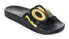 The White Brand New Love Black Slide Women's Sandals, Gold/Black, Size: 8.