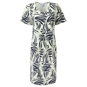 a56ed769bd Pure Collection Silk Linen Cocoon Dress - Navy Bamboo Print - Size ...