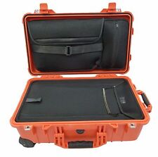 Orange Pelican 1510 1510LOC Overnight Case With luggage insert & Lid pouch.