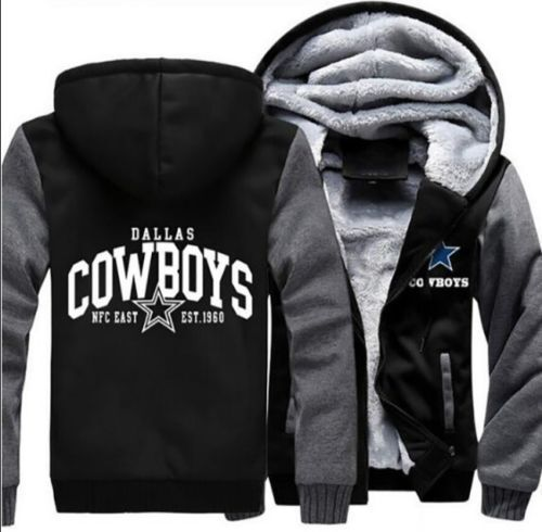 detailed look e23b5 340ca NEW Men's Dallas Cowboys Hoodie Zip up Jacket Coat Winter Warm Black and  Gray