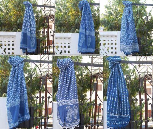10 Pcs Lot Hand Block Dabu Print Indigo Blue Cotton Women Wear Scarf Muffler