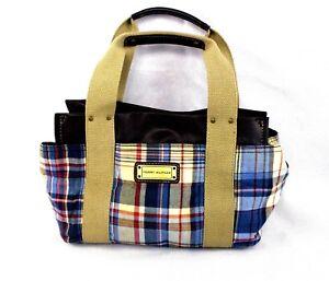 3b676352a3 Tommy Hilfiger Iconic Tote Bag Cotton Madras Plaid Handbag Purse ...