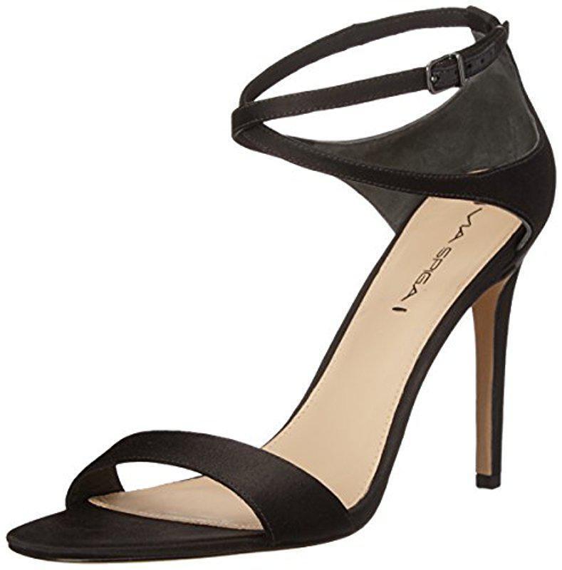Via Spiga Tiara Negro Satinado Talón Sandalias Tira al Tobillo Zapatos para mujer