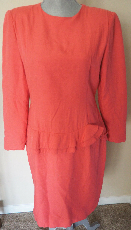 Vintage 80's CAROLINA HERRERA CH Salmon Dress with Ruffles - Sz 10