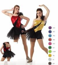 Unleashed Dance Costume Boy Shorts UNITARD w/Ruffle Cheer Baton Tap Clearance