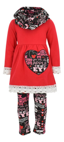Girls Valentine/'s Day Outfit Crochet Trim Legging Set Outfit