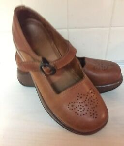 DANSKO-Brown-Leather-Platform-Wedges-Mary-Jane-eu-38-US-7-5-8