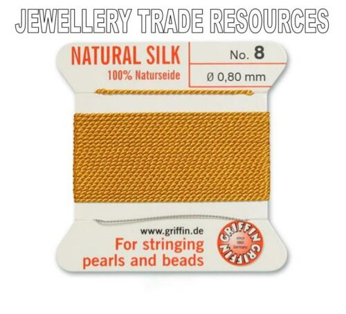 AMBER YELLOW SILK STRING THREAD 0.80mm STRINGING PEARLS /& BEADS GRIFFIN SIZE 8