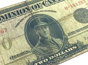 1923-Dominion-Of-Canada-2-Two-Dollar-U-Prefix-Canadian-Circulated-Banknote-I901