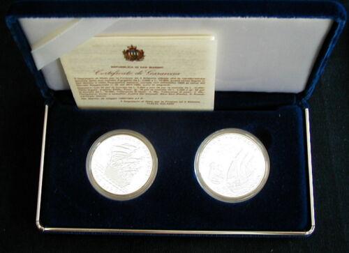 1995 SAN MARINO 2 silver coins 5//10M  UNC//PROOF Italy navigator AMERIGO VESPUCCI