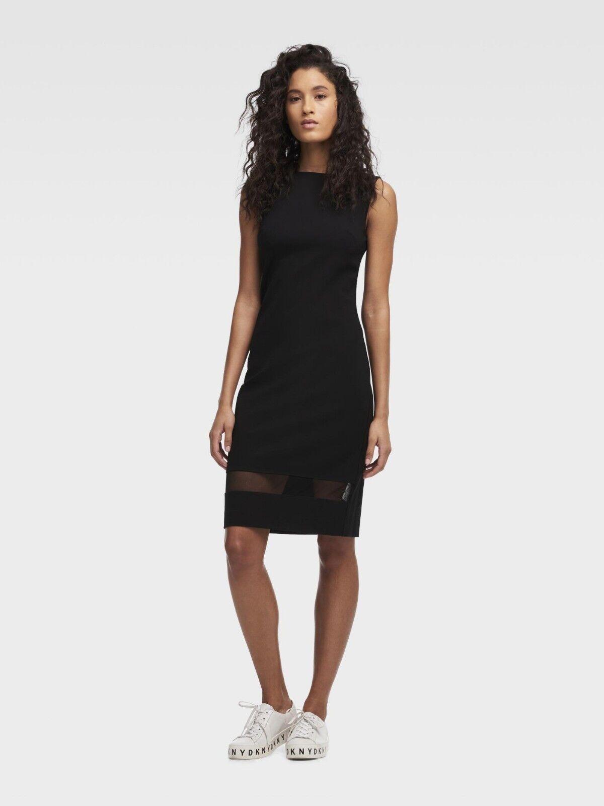 Dkny Nwt Exquisit Schwarz Netz Inset Bodycon Kleid, Größe XXS-XS S-L
