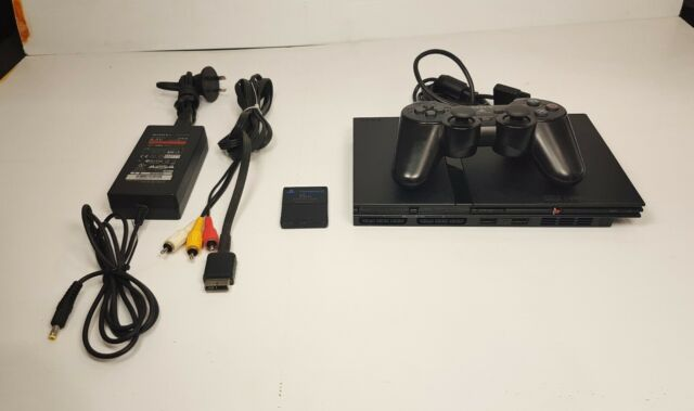 SONY PLAYSTATION 2 PS2 SLIM SCPH-79002 CONSOLE, CONTROLLER, MEMORY CARD,AV CABLE