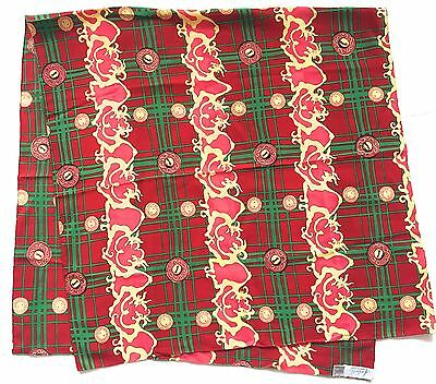 Swiss FABRIC FRONTLINE Zurich ECLECTIC Green Red DEVIL Button Silk Long Scarf