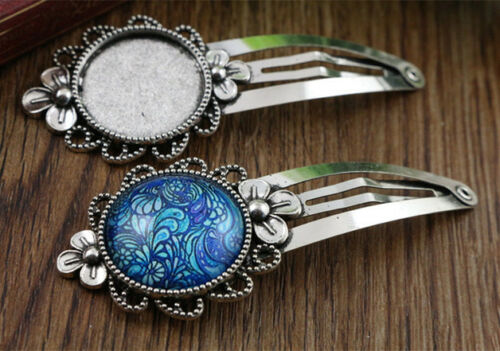 5pcs Fancy Antique Silver Plated Hair Grips with 20mm Cabochon Setting