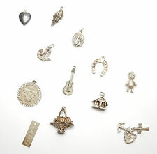 Vintage 1970's Sterling Silver 925 JOB LOT OF CHARM CHARMS 31.7g Lot 1