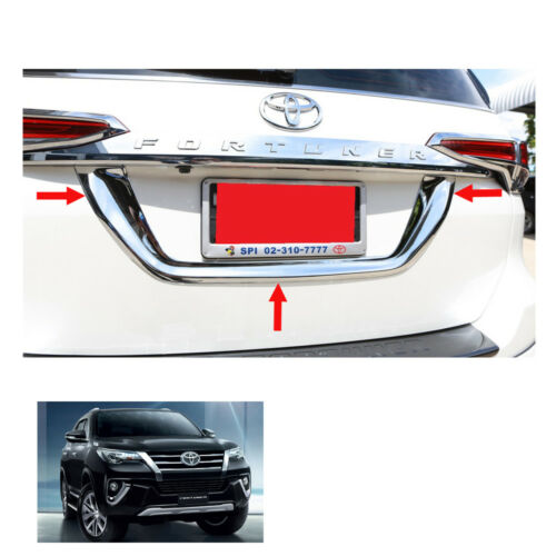 Fits Toyota Fortuner Crusade 2015-2017 License Plate Liftgate Trim Chrome 1 Pc