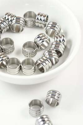 Stainless Steel Lot of 10 Column Tube Spacer Accent Beads 10mm x 8mm Hole 6mm
