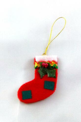 Melody Jane Bambole Casa Miniatura 1:12 Natale Decorazione Rosso Sospesi Calza
