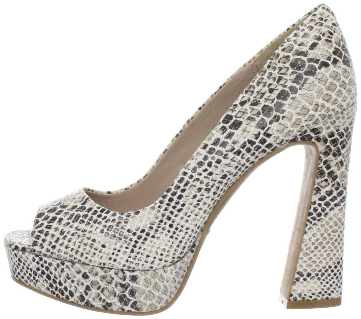 Women shoes Fergie MAGNIFICENT Retro Platform Peeptoe Chunky Heels Nat Snake