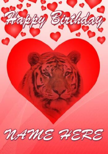 Tiger Birthday Personalised Greeting Card codeHM195 Wife Mum Dad Husband