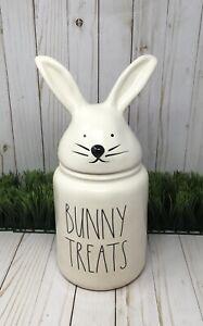 "NEW Rae Dunn Large BUNNY TREATS w/Bunny Head Topper Canister  -14"" TALL!"