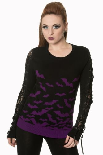 Purple Gothic Punk Rockabilly Bats Knitted Lace Jumper Pullover Banned Apparel