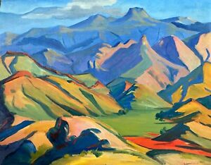 painting-art-decor-gift-landscape-mountains-impressionism-Armenia-nice-vintage