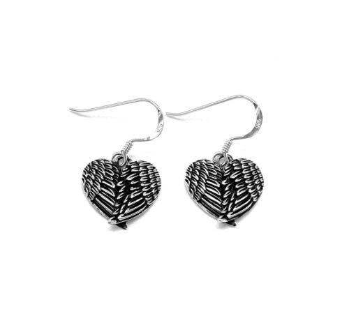 Heart Shaped Angel Fairy Wings Drop Dangle Earrings 925 Sterling Silver Solid