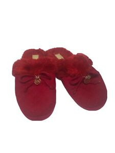 Faux Red Fur Bow Slippers Shoes Size