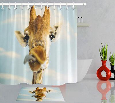 "72X72/"" Fun Giraffe Head Kids Bath Decor Waterproof Fabric Shower Curtain Hooks"
